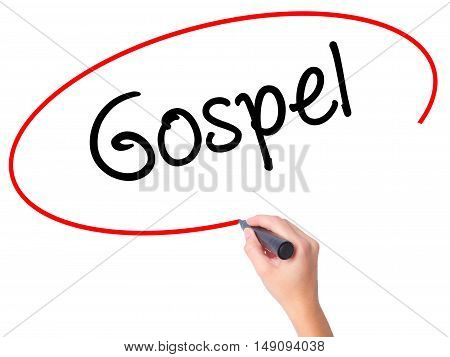 Women Hand Writing Gospel  With Black Marker On Visual Screen