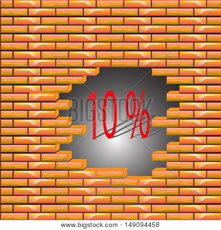10 percent discount symbol icon on the brick wall, the collapse of prices, vector illustration