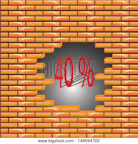 40 percent discount symbol icon on the brick wall, the collapse of prices, vector illustration