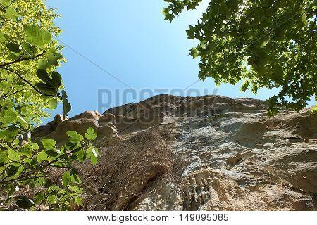The rocky cliffs, Cingles de Bertí, in the Catalan pre-coastal mountain range. The Natural Area Sant Miquel del Fai is located in the municipality of Bigues i Riells, Catalonia, Spain