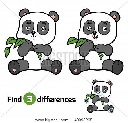 Find differences, education game for children, panda