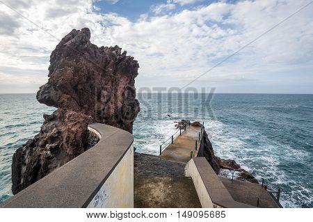 Cais da Ponta do Sol miradouro rock cape and observation point. Madeira island, Portugal.