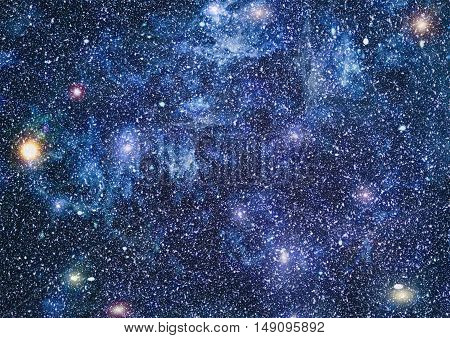 dark night sky with many stars. Milky way on the space background poster