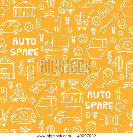 Auto spare parts seamless pattern. Car recyclers and scarp breaker icons background in hand drawn style. Vector illustration EPS10.