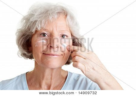Facial Care For Elderly Woman