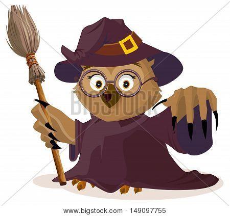 Owl teacher in Halloween costume. Isolated on white vector cartoon illustration