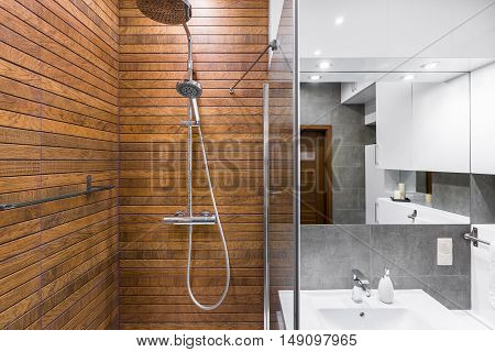 Modern bathroom interior with wooden shower big mirror and sink