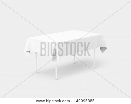 Bank white tablecloth mockup clipping path 3d rendering. Clear table cloth design mock up isolated. Fabric space satin on desk template. Kitchen table clean textile overlay. Setting cafe table.
