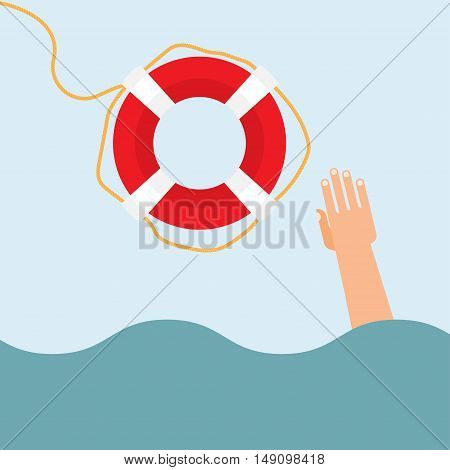Helping to survive. Drowning getting lifebuoy from another.