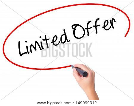 Women Hand Writing Limited Offer With Black Marker On Visual Screen