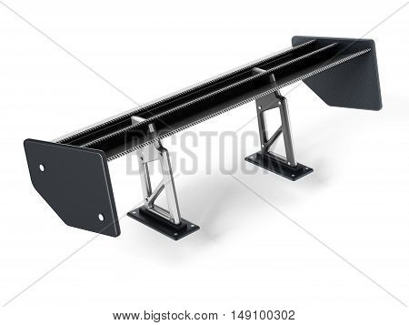 Carbon fiber car spoiler isolated on white background. 3D illustration.