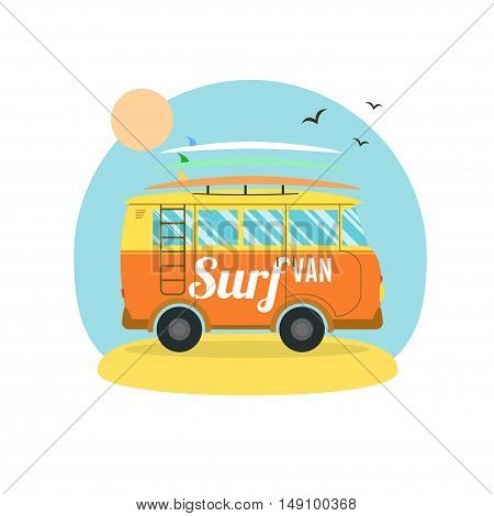 Surf Van on the Beach. Flat Design. Summer Vacation Time. Vector illustration