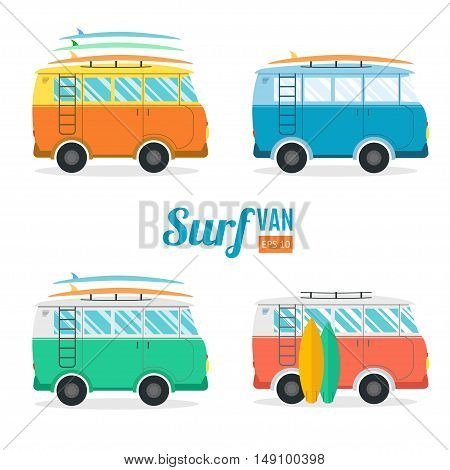 Surf Van Set. Flat Design. Summer Vacation Time. Vector illustration