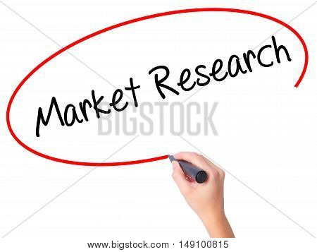 Women Hand Writing Market Research With Black Marker On Visual Screen.