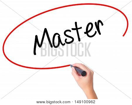 Women Hand Writing Master With Black Marker On Visual Screen