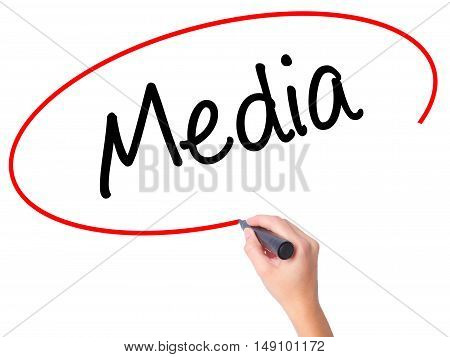 Women Hand Writing Media With Black Marker On Visual Screen