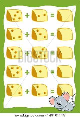 Counting Game For Children. Addition Worksheets. Mouse And Cheese