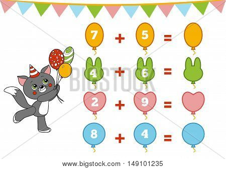 Counting Game For Children. Addition Worksheets About Birthday Decorations
