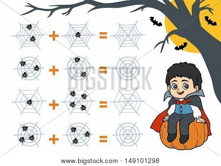 Counting Game For Preschool Children. Halloween Characters, Vampire.