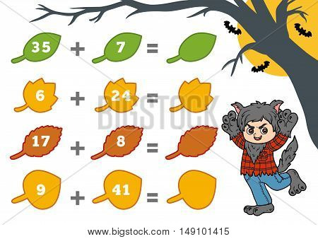 Counting Game For Preschool Children. Halloween Characters, Werewolf.