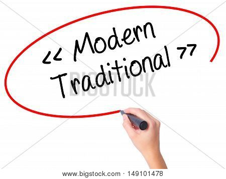 Women Hand Writing Modern - Traditional  With Black Marker On Visual Screen