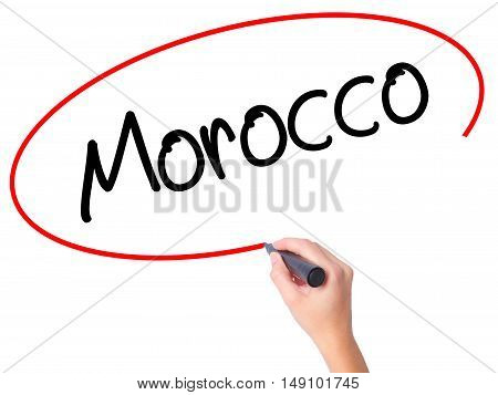 Women Hand Writing Morocco  With Black Marker On Visual Screen