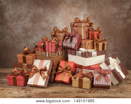 Green gift boxes for christmas on board.