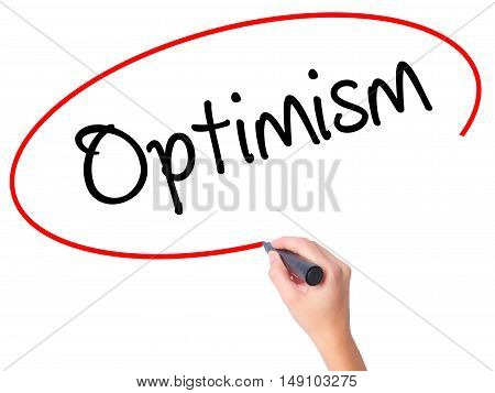 Women Hand Writing Optimism  With Black Marker On Visual Screen