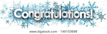 White congratulations banner with blue snowflakes. Vector illustration.
