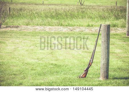 Rifle At An Outdoor Shooting Range