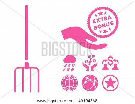 Pitchfork pictograph with bonus pictogram. Vector illustration style is flat iconic symbols pink color white background.