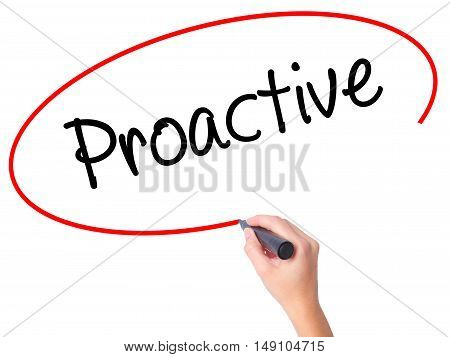 Women Hand Writing Proactive With Black Marker On Visual Screen.