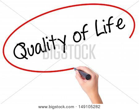 Women Hand Writing Quality Of Life With Black Marker On Visual Screen
