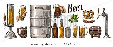 Beer set with two hands holding glasses mug and tap can keg sausage pretzel and bottle. Vintage color vector engraving illustration for web poster invitation to party. Isolated on white background.