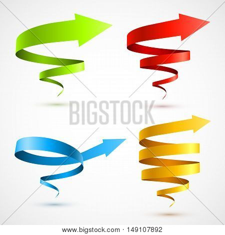 Set of colorful spiral arrows. Vector Illustration EPS 10