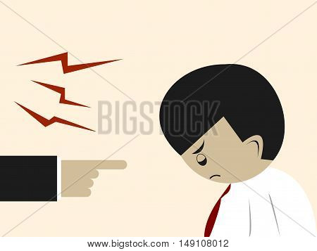 Getting Yelled by Boss Flat Cartoon Illustration