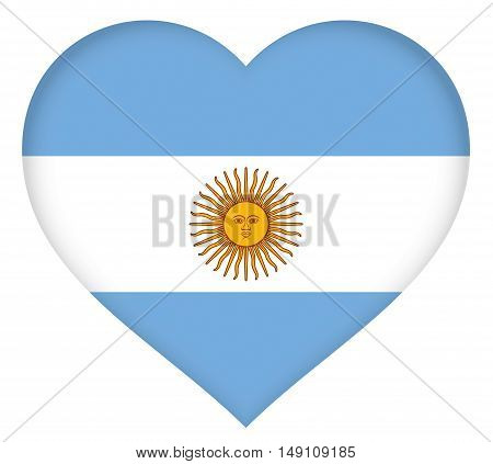 Illustration of the national flag of Argentina shaped like a heart