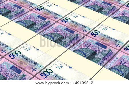 New Belarusian rubles bills stacks background. 3D illustration.