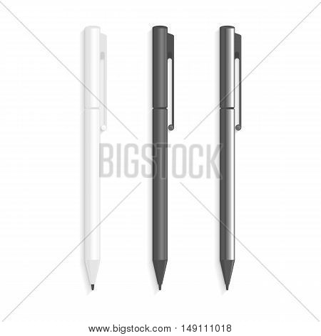 The white, black and chromeplated pens in realistic style. Marker Set Of Corporate Identity And Branding Stationery Templates. Ball Pens Isolated in White Background as School Items.