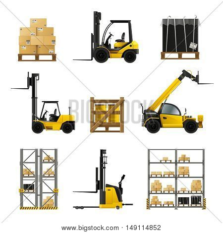 Forklift and warehouse realistic icons set with boxes and cargo isolated vector illustration
