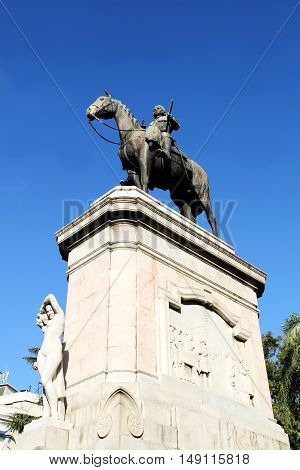 The statue of Jose Gervasio Artigas in Montevideo Uruguay.