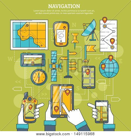 Navigation vector illustration with map gps navigator artificial earth satellite and navigation app on tablet screen flat icons