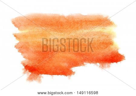 Orange watercolor brush strokes isolated over the white background