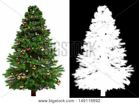 Christmas tree isolated on white background. Black and white mask - 3D render