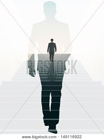 Back view of businessman climbing stairs and walking male silhouette on light background. Success concept. Double exposure