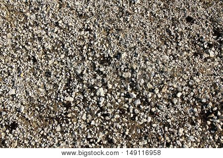 Photo of a grey Gravel background texture.