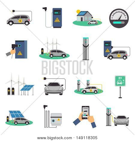Electric car charging public network service stations and individual recharging points flat icons collection isolated vector illustration