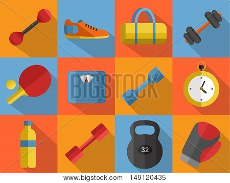 Vector illustration of gym sports equipment icons set. Boxing gloves, weight, bag, sports shoes, ping pong paddle, dumbbell, stopwatch and weigher on color background. Flat signs with long shadow
