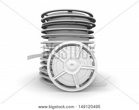 A stack of Film reels. A 3D rendered Illustration.