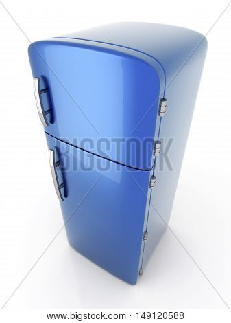 A classic blue Fridge. A 3D rendered Illustration.
